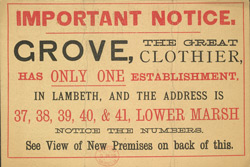 Advert for Grove's Clothier, reverse side